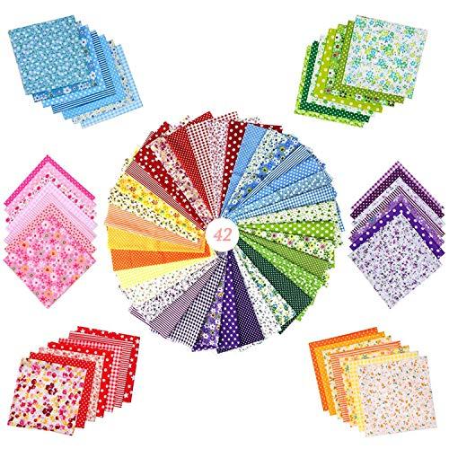WELLXUNK Tessuti e stoffe a Metro 42 Pezzi Stoffa Cotone,Tessuto Cotone,Tessuti Stampati,per Cucire Stoffa a Metro DIY Mestieri Cucito Hobby Creativi (25 cm * 25 cm)