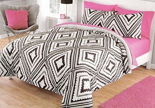 Keeco Your Zone geo Aztec Comforter Set Reverse to Cozy Plush Black/Gray (Full/Queen)