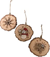 Set of 3 Large Oak Christmas Ornaments - Snowman & Two Snowflakes Hand-painted Wooden Christmas Tree Decorations - Perfect Xmas Ornaments Mini Gift Sets For Family & Coworker Red Ornament Decoration