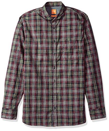Hugo Boss Herren Cattitude Woven Plaid Pattern Long Sleeve Shirt Button Down Hemd, Open Red, Mittel