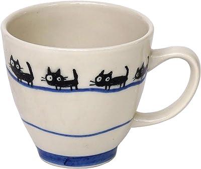 万葉庵 マグカップ ファミリーキャット 青 直径8.5×11.3cm 628/513