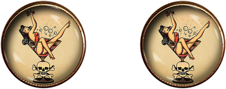 Sailor Jerry Cufflinks Handmade Gift Sailors Beware Jewelry Pendant Charm Gifts
