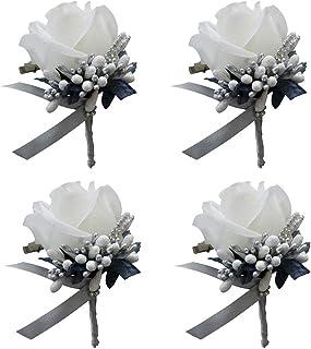 F Fityle 4pcs Broche de Ramillete de Tela Artificial Ramillete de Novio de Boda para Quinceañera