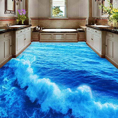 Mznm Fototapete Meereswellen Badezimmer Schlafzimmer 3D stereoskopische Bodenbild, PVC, wasserfest, Selbstklebende Vinyl-Tapete 200x140cm