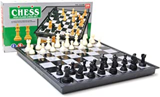 "Luxxii Magnetic Chess Set, 12"" x 12"" Folding Chess Set with Magnetic Chess Pieces, Chess Game Board Set with Storage Slots"
