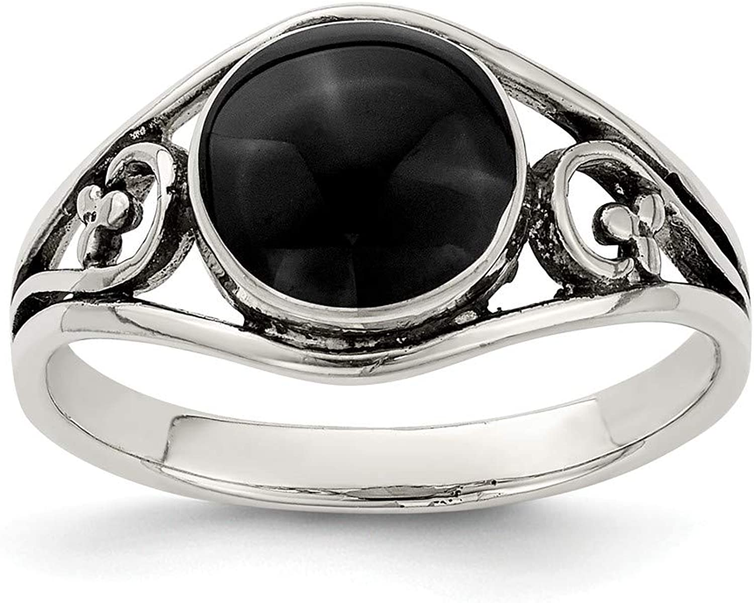 Beautiful Sterling silver 925 sterling Sterling Silver Antiqued Black Agate Ring