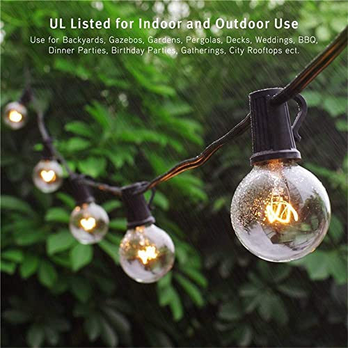 Binval 50Ft G40 Outdoor/Indoor String Lights UL Listed for Patio Decor Waterproof 50Ft with 55 Clear Bubls Outdoor St...