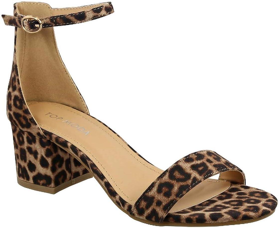 Women's Block Open Toe Ankle Strap Heeled Sandals