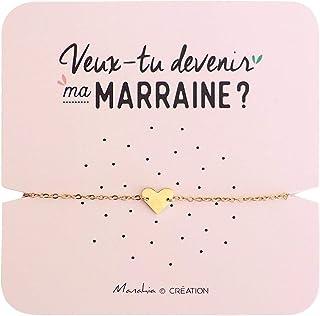 Bracelet Marraine Coeur | Acier Inoxydable | Veux-tu Devenir ma Marraine ? | Bracelet d'annonce Naissance, Bracelet de Dem...