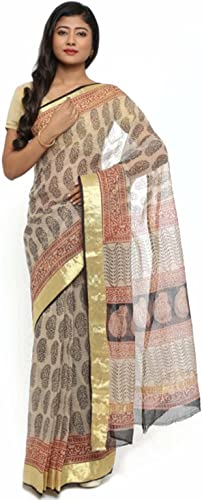 Indian Handicrfats Export gocoop Beige Silk Cotton Printed Kota Handloom Saree