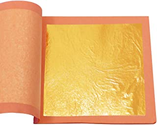 """VGSEBA 24K Edible Gold Leaf Sheets 25 Pieces/Booklet 3.67"""" Pure Gold Foil for Cookies & Desserts, Beauty Routine, Art & Ha..."""