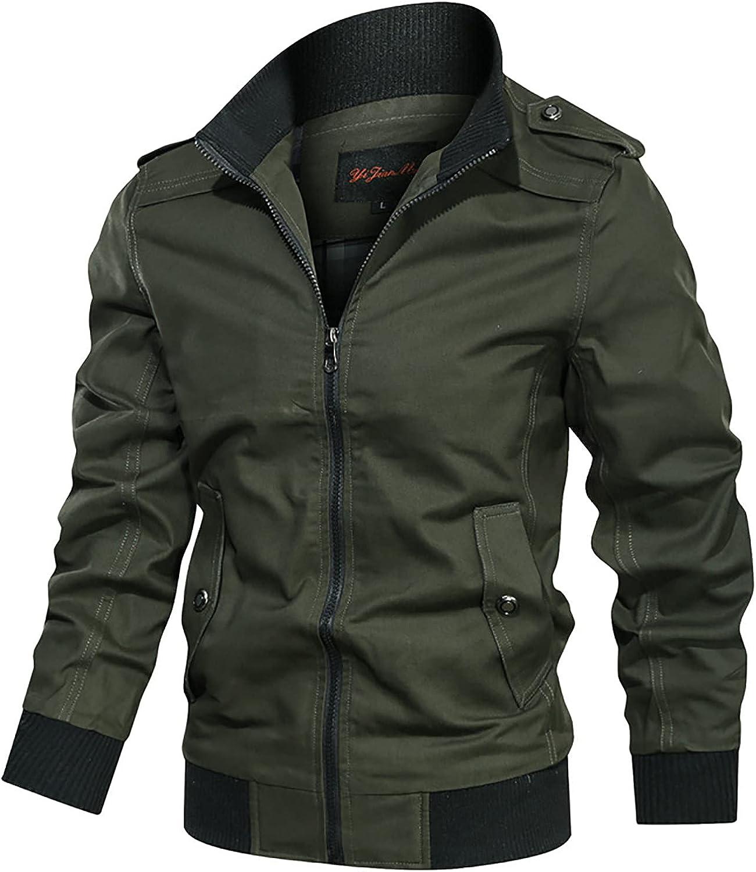 Men's Military Jacket Outdoor Lightweight Cotton Casual Bomber Coat Solid Color Tooling Wind Jacket Zipper Coat