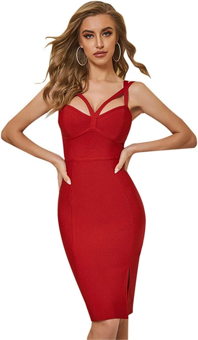 YonCog Ladies Evening Dress Burgundy Sling Strap Halter Dress Tight Bandage Skirt Women's Club & Night Out Dresses (Color : Red, Size : Small)