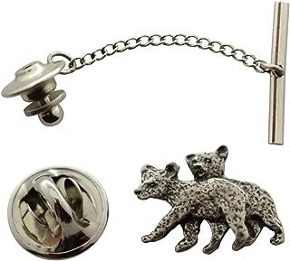 Sarah's Treats & Treasures Twin Bear Cub Tie Tack ~ Antiqued Pewter ~ Tie Tack or Pin