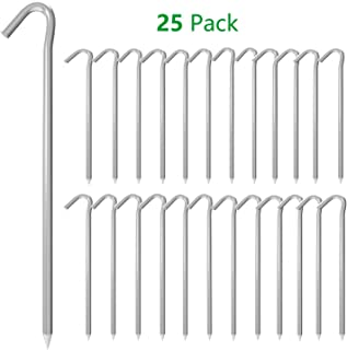 AAGUT OuYi Tent Stakes 9 Inch 25 Piece Galvanized Steel Tent Pegs Garden Canopy Stakes, 6Ga Tent Stake for Outdoor Camping