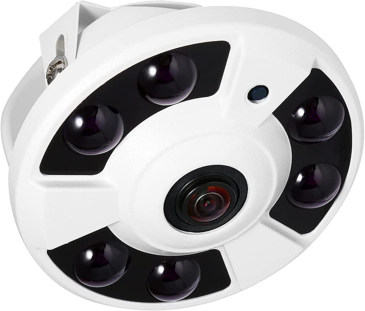 Revotech Dome Fisheye POE IP Camera, HD 3MP Indoor Security Camera ONVIIF 1.7mm Lens 6 Array LED IR Night Vision P2P Remote View CCTV Video Cam H.265/H.264(IF02-P White)