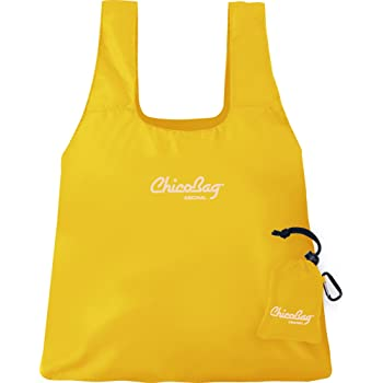 ChicoBag Original Compact Reusable Grocery Bag with Attached Pouch and Carabiner Clip, Buttercup Color