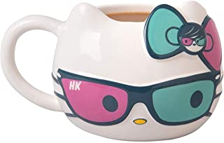 Hello Kitty Ceramic Coffee Mug with Cute Sunglasses and Bow Design - Sanrio - Large 20 oz