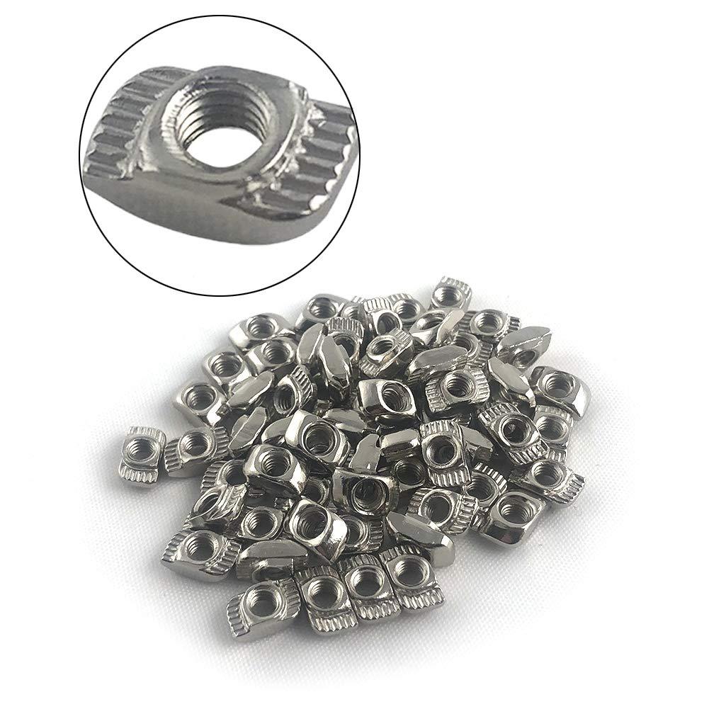 QWORK Popular 100 Pack M4 T-nut Nickel-Plated Steel T 2021 model Nut Slot Carbon