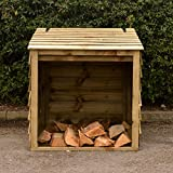 Signs & Numbers Wooden Log Store with Hinged Lid for Easy Access Garden Outdoor Firewood Storage Pressure Treated Against Rot Keeps Your Logs Tidy and Dry 90 x 90 x 92 Centimetres