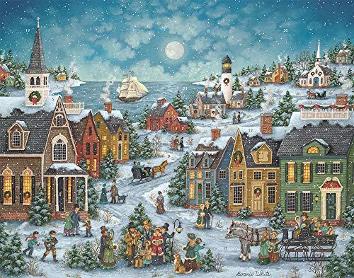 Calendario dell'avvento, motivo canti natalizi vicino al porto