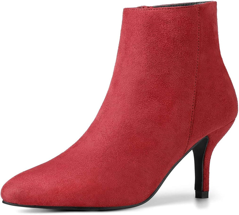 Allegra K Women's Pointed Toe Stiletto Kitten Heel Ankle Booties