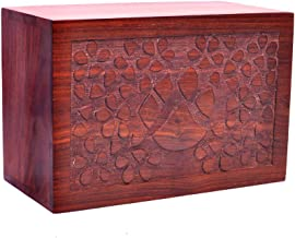 Pet Memory Shop Urn for Pets - Hand-Carved Rosewood Urn - Classic Wooden Series for Dogs, Cats, and Animals (Hand-Carved Paw Prints, Small)