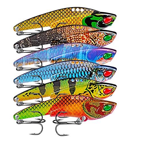 JOMOSIN DY611 1ps 3D Metal VIB Leurres 12G 22G Pêche Leur de pêche Vibre Vibre Cuillère Hard Bait Bass Cicada Wobbler Spinner La flexibilité (Color : A, Size : 22g)