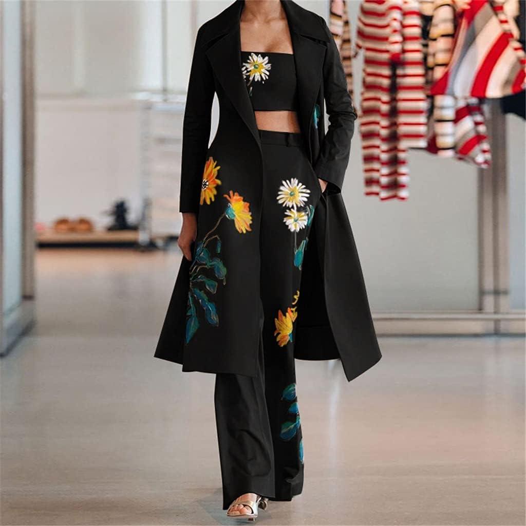 NJBYX Women Long Trench Coat Women Sets Women's Autumn Winter New Fashion Temperament Print Flower Windbreaker Wide Leg Pants Suit (Color : A, Size : XL)
