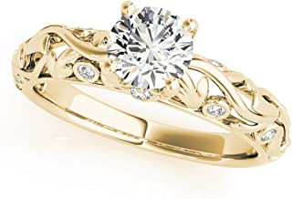 14k Gold Diamond Antique Style Engagement Ring (0.68ct)
