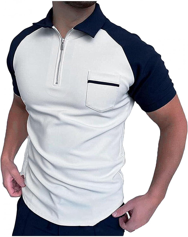 Men Polo T Shirts Short Sleeve Turn-Down Collar Zipper Pullover Top Classic Herringbone Print Shirt Comfy Cotton Tee