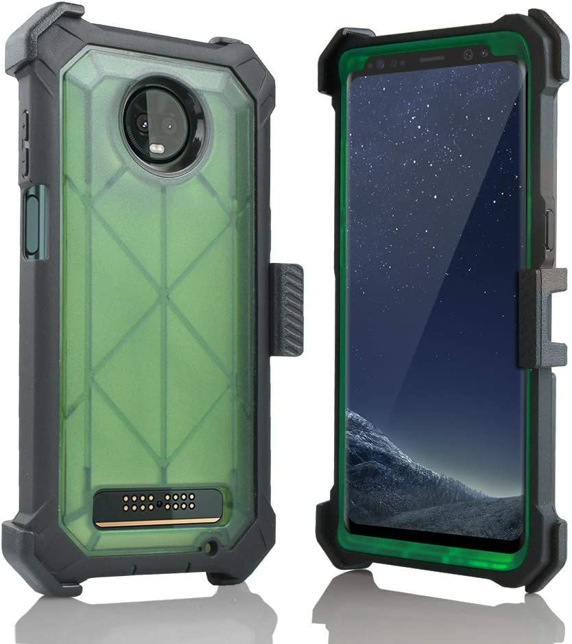 for Motorola Moto Z3 Play Case, Full Body Protection Defender Clear Case Built in Screen, Holster, Kickstand Cover (Green)