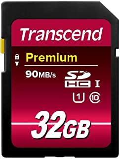 Transcend 32GB SDHC Class 10 UHS-1 Flash Memory Card Up to 60MB/s (TS32GSDU1)