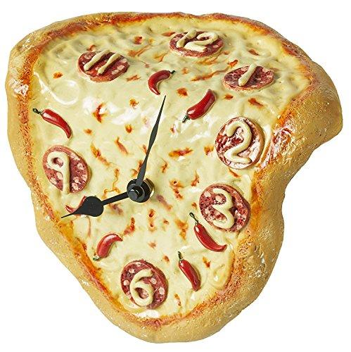 Fantastik 70000912 - Orologio da mensola o scrivania a forma di PIZZA, sciolto e deformato