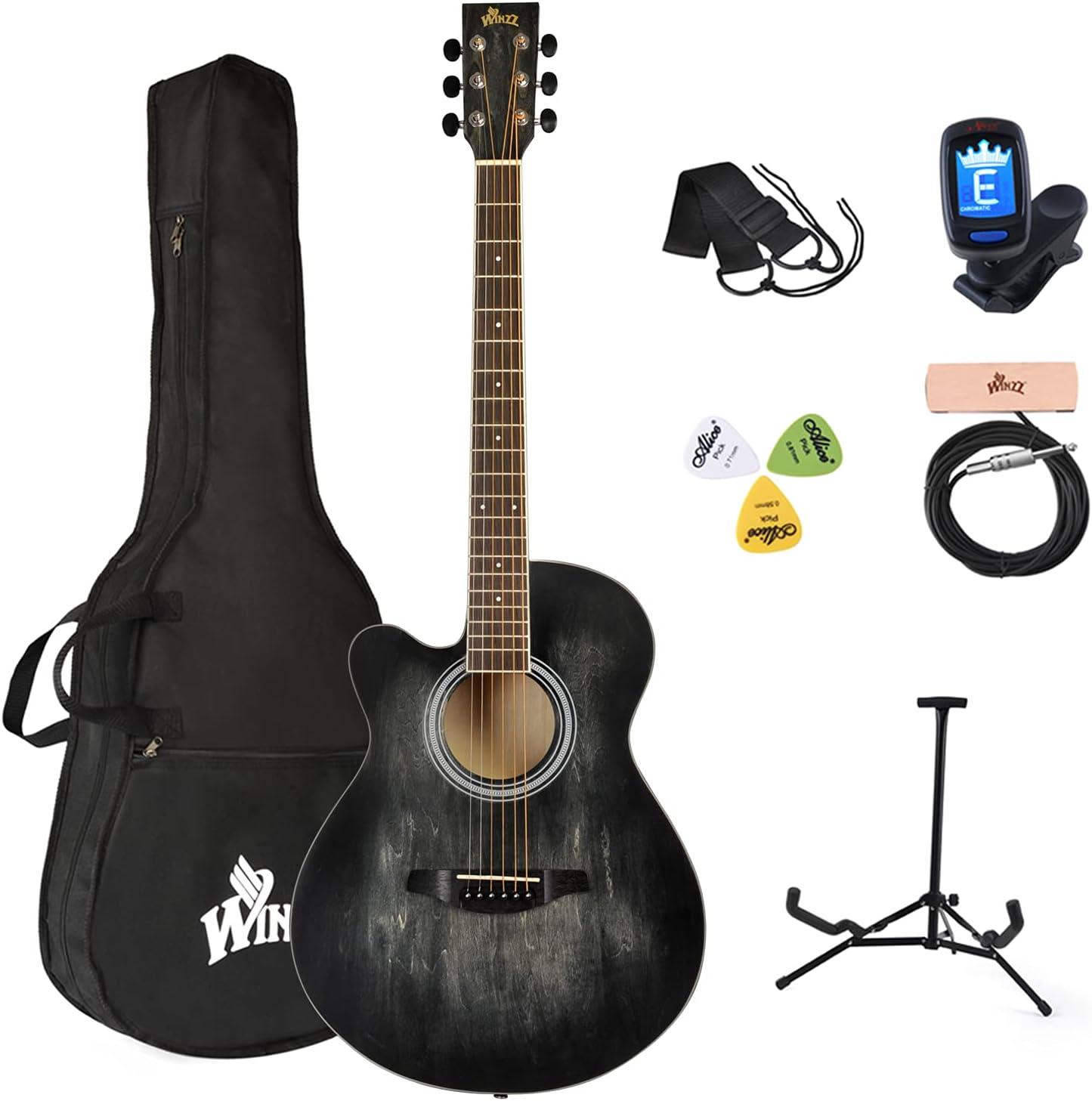 Winzz Guitarra acústica para zurdos, 100 cm, color negro, 100 cm, incluye pastilla de guitarra, soporte para guitarra, púas, correa, afinador de guitarra, funda