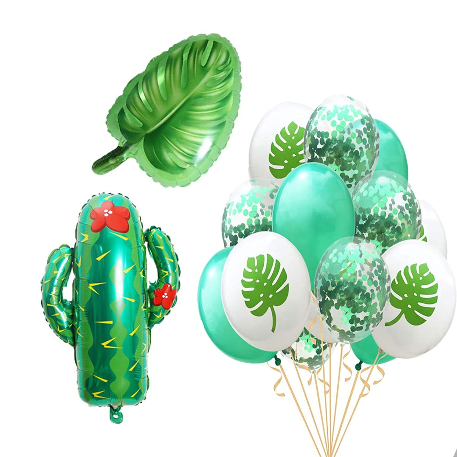 Beach Summer Tropical Party Theme Cactus Balloons Hawaii Party Decorative Leaves Mylar Balloon Colorful Confetti Balloons for Luau Party Decor Hawaiian Decorations Party Supplies