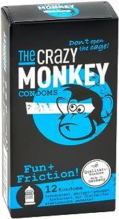 The Crazy Monkey Condoms - Fun+Fricition - con granos y acanalado para la máxima intensidad emocional - fabricado en látex de caucho natural - 12 condones - Made in Germany