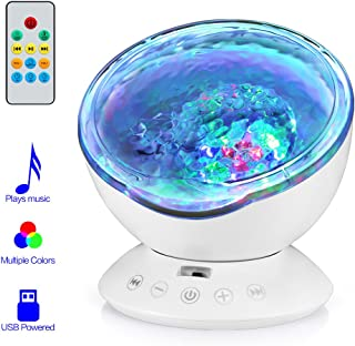 Ocean Wave Projector, 12LED Night Light Lamp with Built-in Music Player, 7 Color Changing Lighting Modes, Perfect Choice for Baby Nursery Bedroom Living Room …