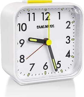 sanlinkee Réveil Analogique Réveil Matin à Piles Réveil Silencieux sans Tic-Tac Petite Réveil De Voyage Réveil avec Lumine...