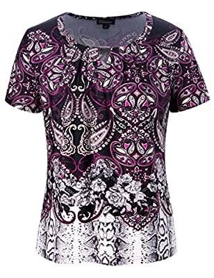 Chicwe Women's Plus Size Designed Neck Mixed Floral Printed Top - Casual and Work Blouse 3X Plum