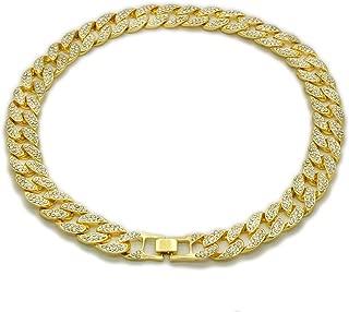 Jewel Town Mens Hip Hop Gold Tone CZ Miami Cuban Link Chain Choker Necklace 18