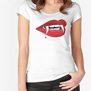 MIZEN - Female Dracula Lips Halloween Fitted Scoop - Cat Shirt - Cat T-shirts For Men Women - Cat Owner Cat Mom Dad Shirts - Cat Lover - Cat Gift Kids