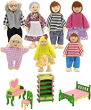 7PCS Wooden Furniture Dolls House Family Miniature 7 People Doll Toy For Kid UK