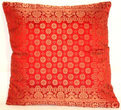 Housse de coussin, rouge, Banarasi soie fait, décoration cuit et fait à la main, 40x40, conception Extravaganza Peacock, design agréable canapé-lit, fabriqués à partir de Cachemire et l'Inde.