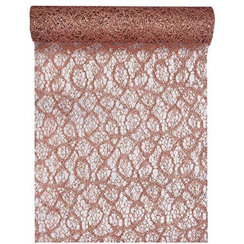 Tischläufer Spitze Colour 28cm x 5m rosé-Gold Tischdeko Tischdecke Geschenkband Dekostoff