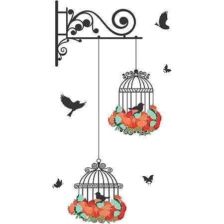 Decals Design 'Hanging Birds Cage with Flowers' Wall Sticker (PVC Vinyl, 50 cm x 70 cm)