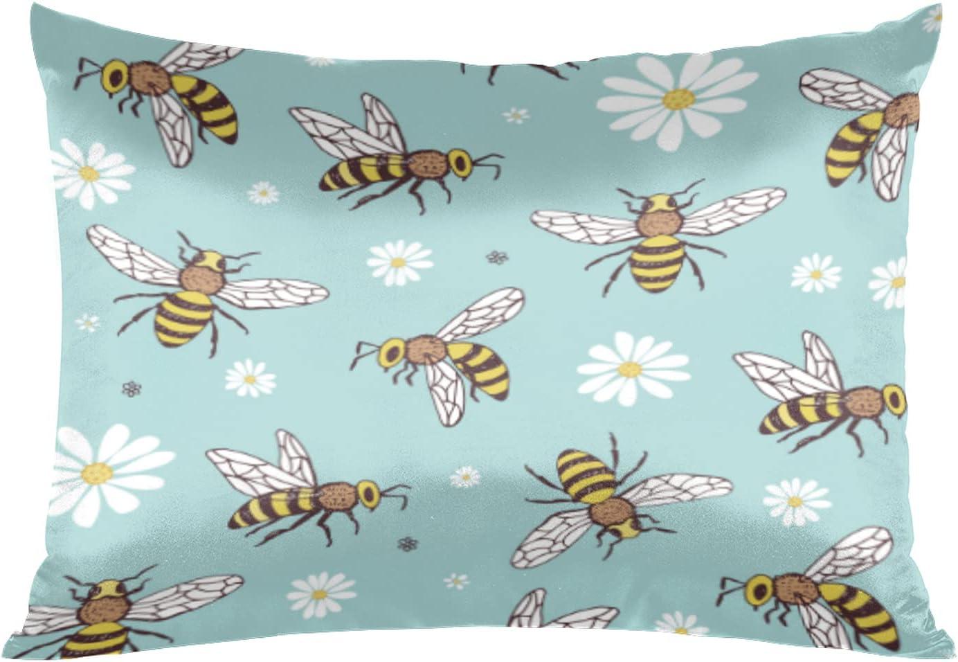 1 year warranty Satin Pillowcase Fashionable for Hair and Skin Flower Bee Silk Pillow Daisy