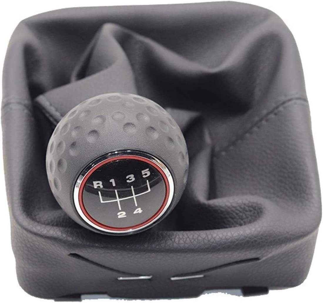 5-Gang Auto Schaltknauf mit Gaitor Boot-Cover//Fit for VW//Polo 9N 9N2 2002-2009 Gaitor Shift Bootgamaschen//Frame//Chrom