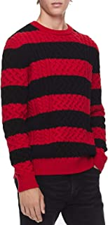 CALVIN KLEIN Men's Striped Cable Knit Sweater