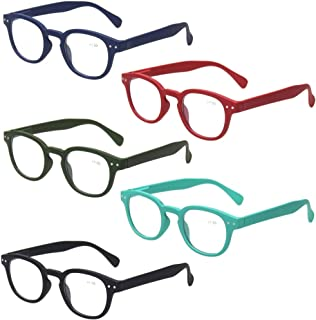 Reading Glasses Set of 5 Quality Fashion Readers Spring Hinge Glasses for Reading (5 Pack Mix Color, 1.75)